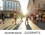 rome   august 22  people walk... | Shutterstock . vector #212396971