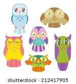 a collection of 6 cute colorful ... | Shutterstock . vector #212417905