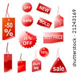 red shopping tags  vector | Shutterstock .eps vector #21243169