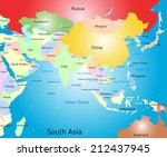 vector color south asia map | Shutterstock .eps vector #212437945