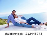 romantic happy young couple... | Shutterstock . vector #212445775