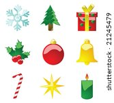 Vector illustration set of glossy Christmas icons - stock vector