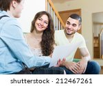 positive couple discussing... | Shutterstock . vector #212467261