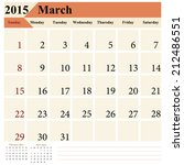 simple european march calendar... | Shutterstock .eps vector #212486551