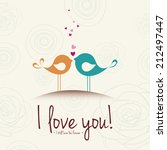 abstract birds in love on a... | Shutterstock .eps vector #212497447