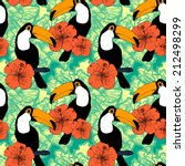seamless pattern with toucans | Shutterstock .eps vector #212498299