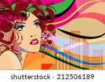beautiful fashion women  with... | Shutterstock .eps vector #212506189