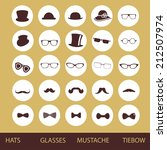 hats glasses  mustaches and tie ... | Shutterstock .eps vector #212507974