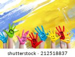 many colorful hands with... | Shutterstock . vector #212518837