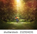 two children are walking down a ... | Shutterstock . vector #212524231