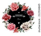 wreath of roses  watercolor ...   Shutterstock . vector #212534845