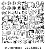 e mail doodle set. hand drawn... | Shutterstock .eps vector #212538871