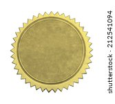 round gold star seal with copy... | Shutterstock . vector #212541094