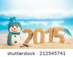 New Year 2015 Sign With Snowma...