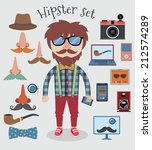hipster character pack design... | Shutterstock .eps vector #212574289