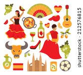 spain travel tourist... | Shutterstock .eps vector #212576815