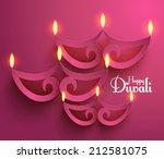 vector paper diwali diya  oil...   Shutterstock .eps vector #212581075