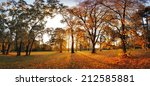 Autumn Panorama In Park With A...