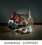 teenager sport equipment in a... | Shutterstock . vector #212592565