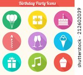 birthday party icons set   flat ... | Shutterstock .eps vector #212602039