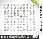 100 universal icons for web and ... | Shutterstock .eps vector #212604835
