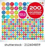 200 universal plain icon set 2 | Shutterstock .eps vector #212604859