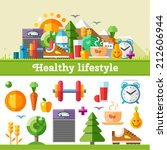 healthy lifestyle. vector flat... | Shutterstock .eps vector #212606944