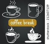 coffee break hand drawn sketchy ... | Shutterstock .eps vector #212607139