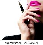 Sexy attractive businesswoman teacher student woman girl holding a pen  mouth pink lipstick lipgloss makeup - stock photo