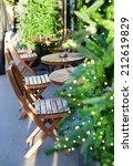 Parisian outdoor cafe during Christmas time - stock photo