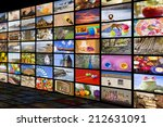 big tv videowall with different ... | Shutterstock . vector #212631091