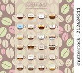 the coffee menu infographics ... | Shutterstock .eps vector #212634211