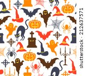 seamless vector halloween... | Shutterstock .eps vector #212637571