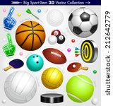balls. sport icon 3d collection.... | Shutterstock .eps vector #212642779