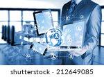 business man using tablet pc... | Shutterstock . vector #212649085