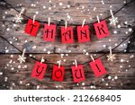thank you on red tags hanging... | Shutterstock . vector #212668405