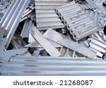 Aluminum scrap metal sheets on a recycling area - stock photo