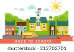 landscape with houses  school... | Shutterstock .eps vector #212702701