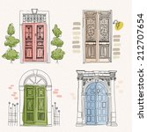 old doors in vintage style on... | Shutterstock .eps vector #212707654