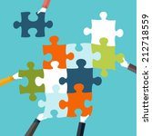 concept of teamwork and... | Shutterstock .eps vector #212718559
