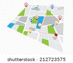 vector map with tourist's pins | Shutterstock .eps vector #212723575