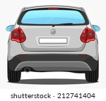 vector silver car   back view | Shutterstock .eps vector #212741404