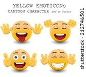 yellow emoticon cartoon... | Shutterstock .eps vector #212746501