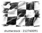 Checkered flag on plain...