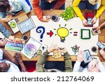 busy multiethnic group of... | Shutterstock . vector #212764069