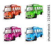 bus icon set. color car... | Shutterstock . vector #212813881