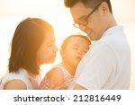 portrait of happy asian family...   Shutterstock . vector #212816449