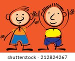 two boys isolated on red... | Shutterstock . vector #212824267