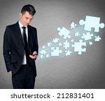 business man with smartphone... | Shutterstock . vector #212831401