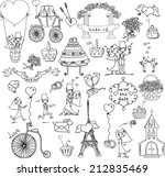 doodle wedding set  | Shutterstock .eps vector #212835469